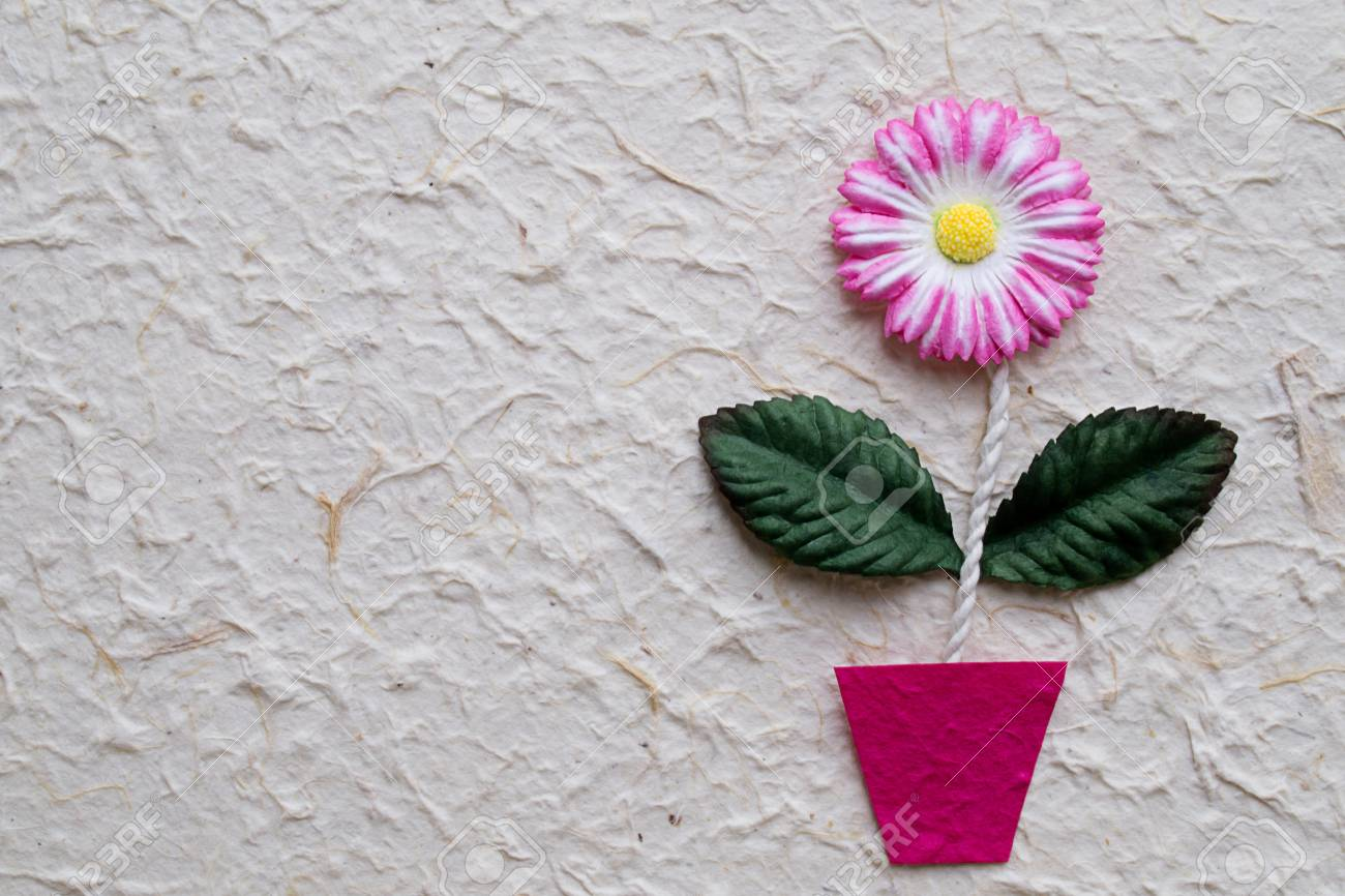 Artificial Flower On Mulberry Paper Background Stock Photo Picture