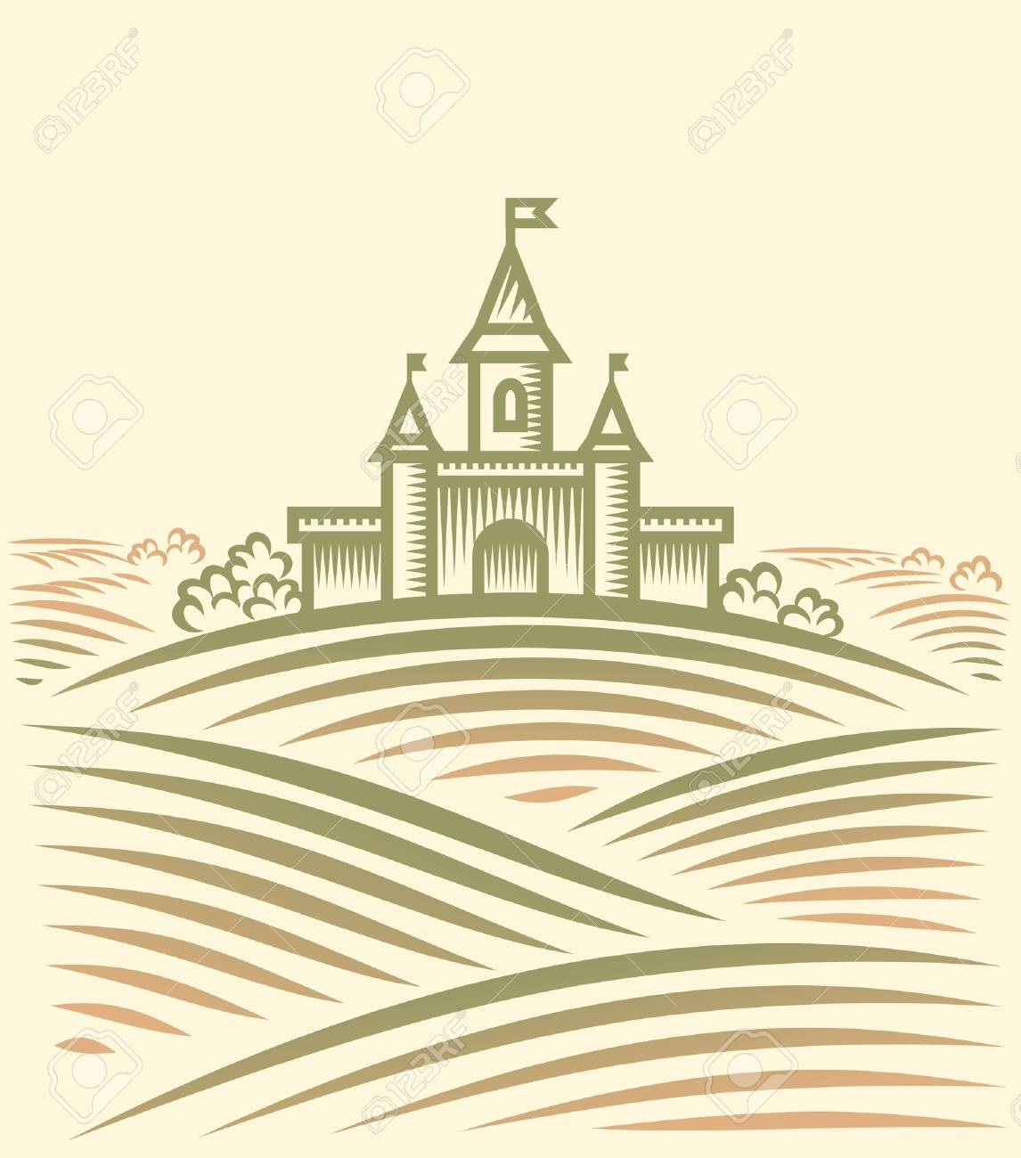 Rural landscape with hill and Castle Stock Vector - 17469499