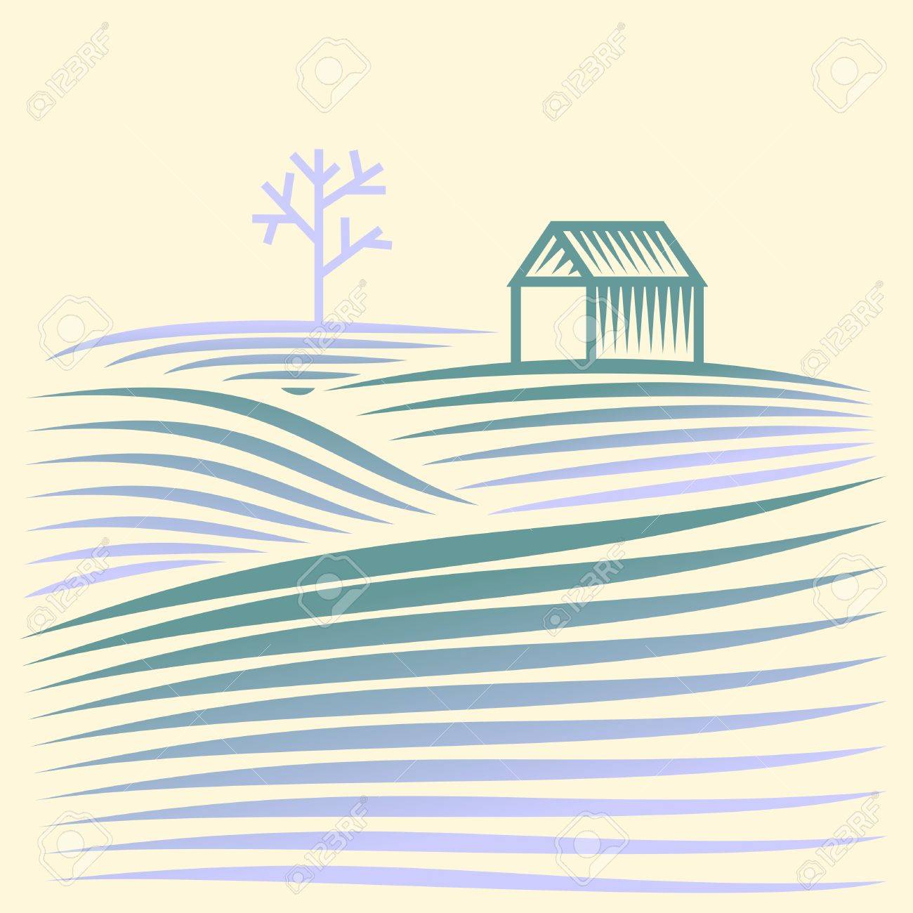 winter rural landscape with fields and house Stock Vector - 17469490