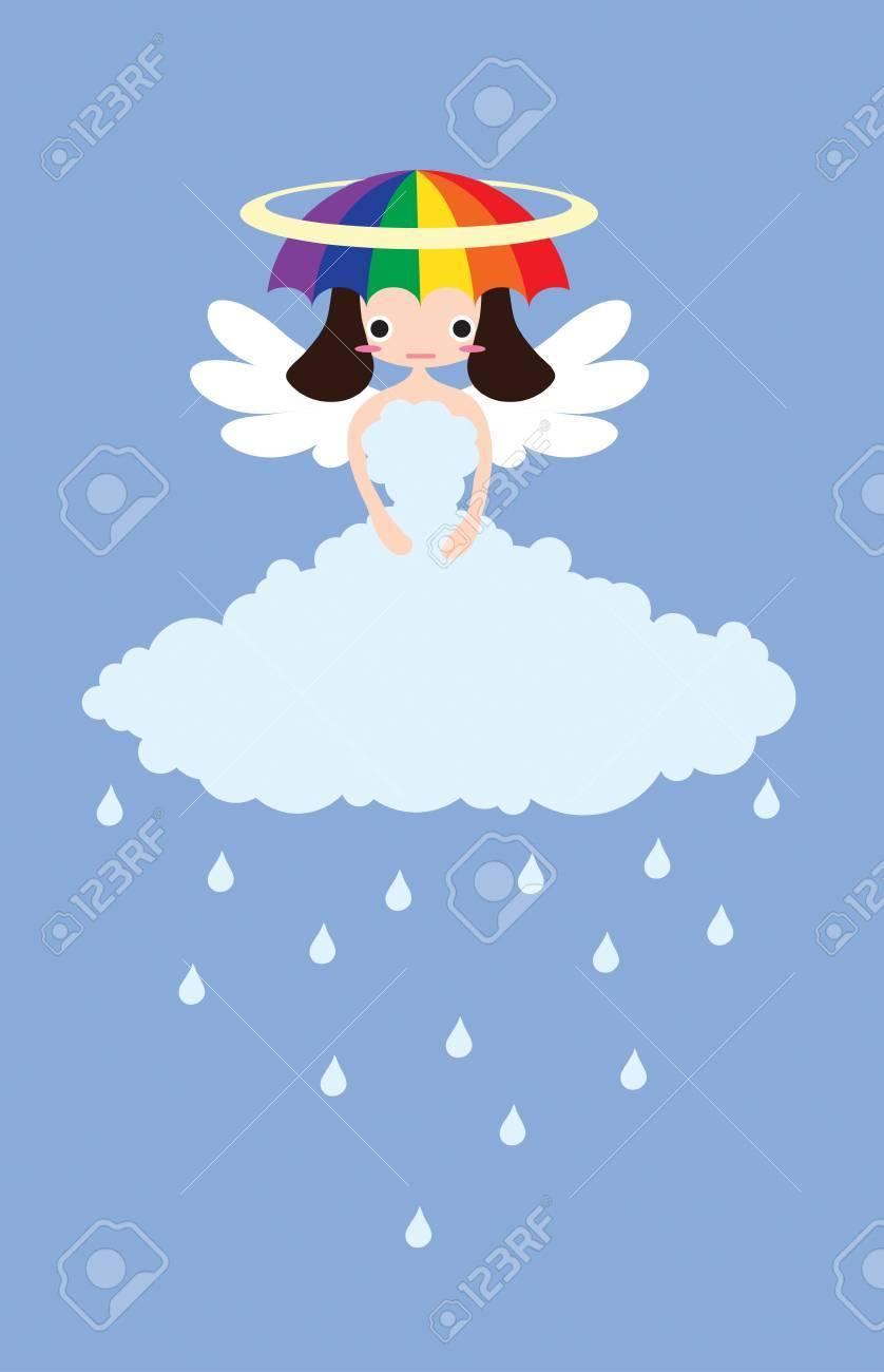 Weather Cute Angel Rainy Stock Photo - 17056295