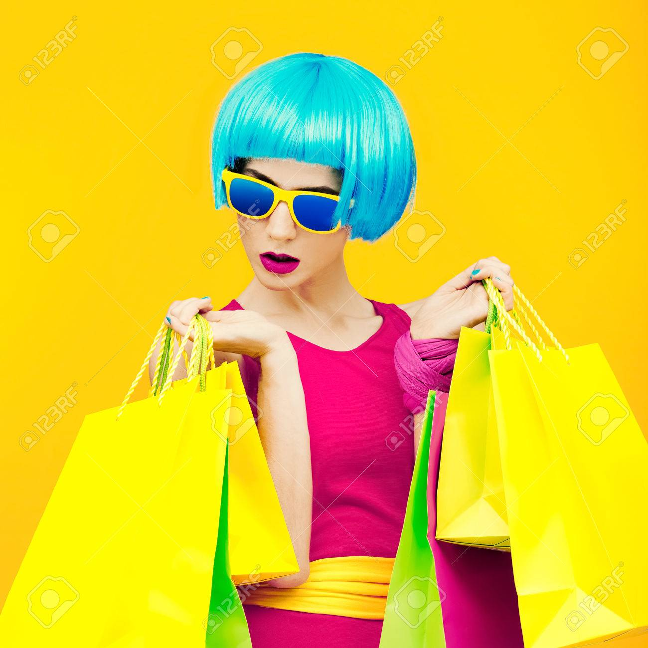 Glamorous lady shopping.time discounts and sales - 35844467