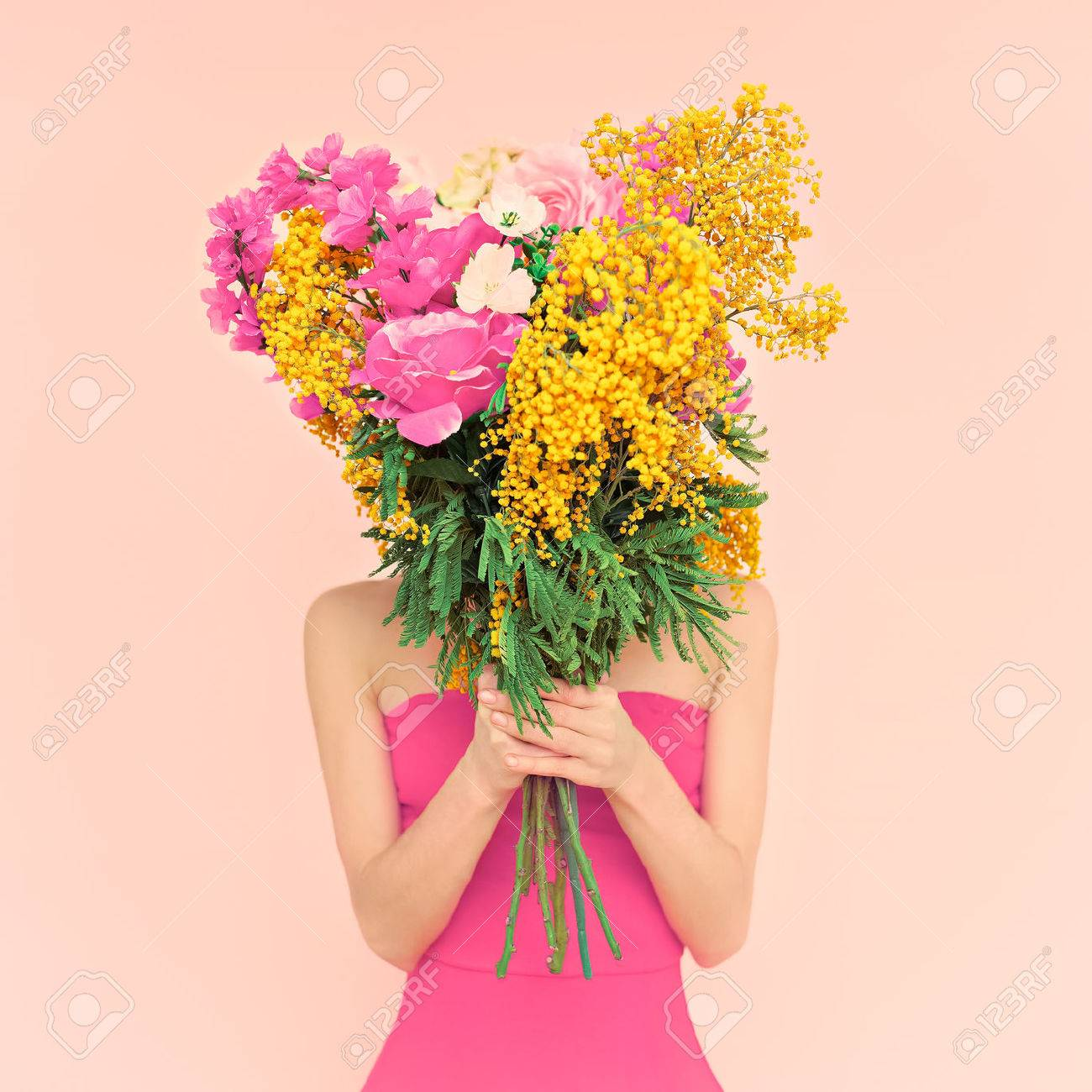 Girl with bouquet of flowers in her hands. Flowers, Spring, Romance, March 8 - 36743219