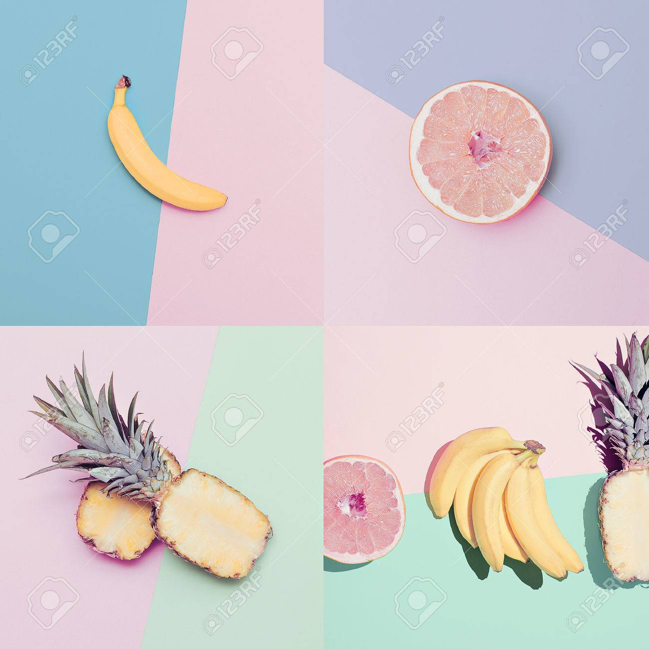 Fashion Vanilla fruit set. minimal Style - 37664430