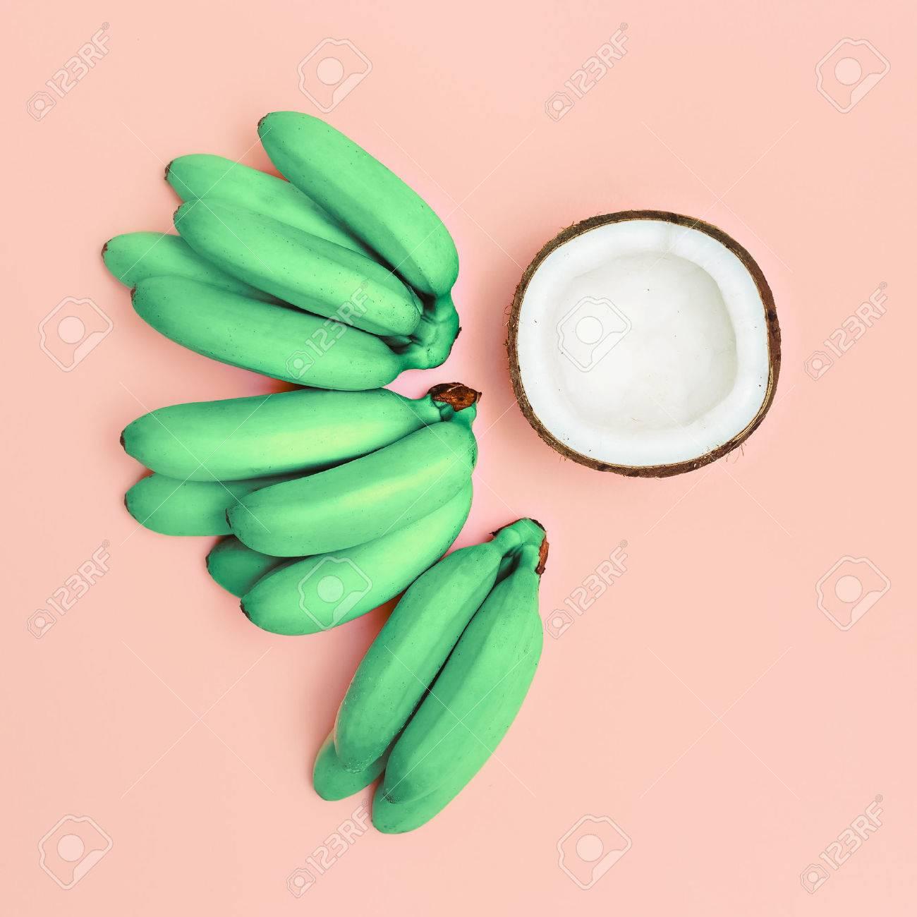 Fashion photo set bananas and coconut. Pink vanilla summer - 39075504