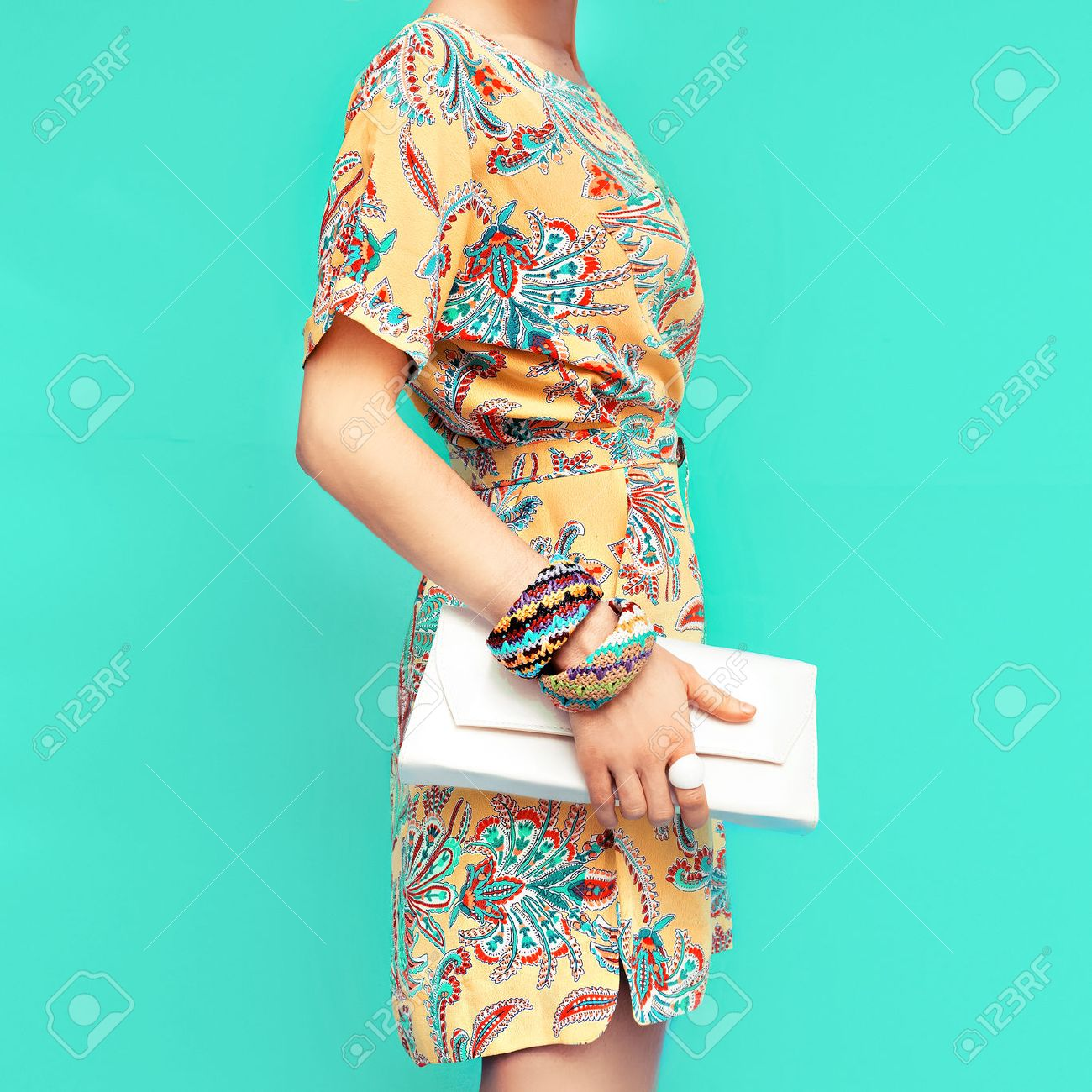 Fashion lady. Beach style. Clothing for vacations. Dress with stylish design - 40336044