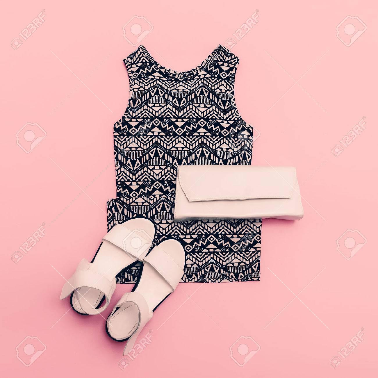 Lady clothing set. Dress and shoes. Trendy geometric prints. - 44776851