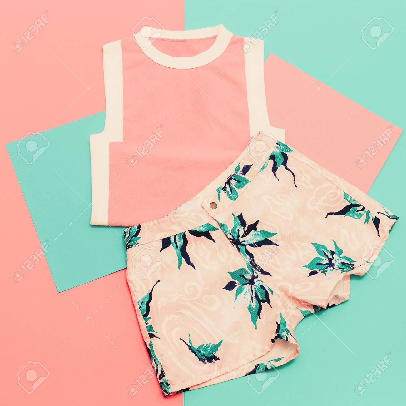 Lady set. Vanilla summer style. Trendy T-shirt and shorts. - 44775804