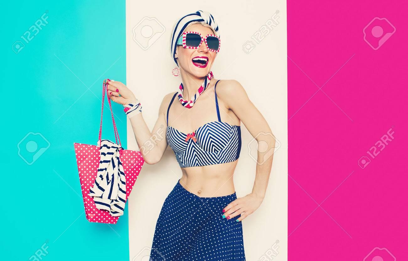 Happy Glamorous lady in Summer beach marine style - 44775836