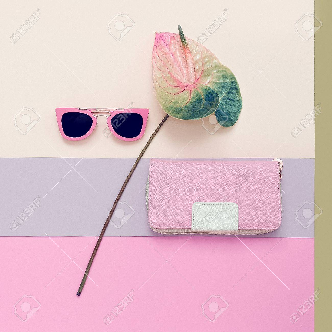 Ladies Fashion Accessories. Pink Clutch and sunglasses. Pastel colors Trend - 74068642
