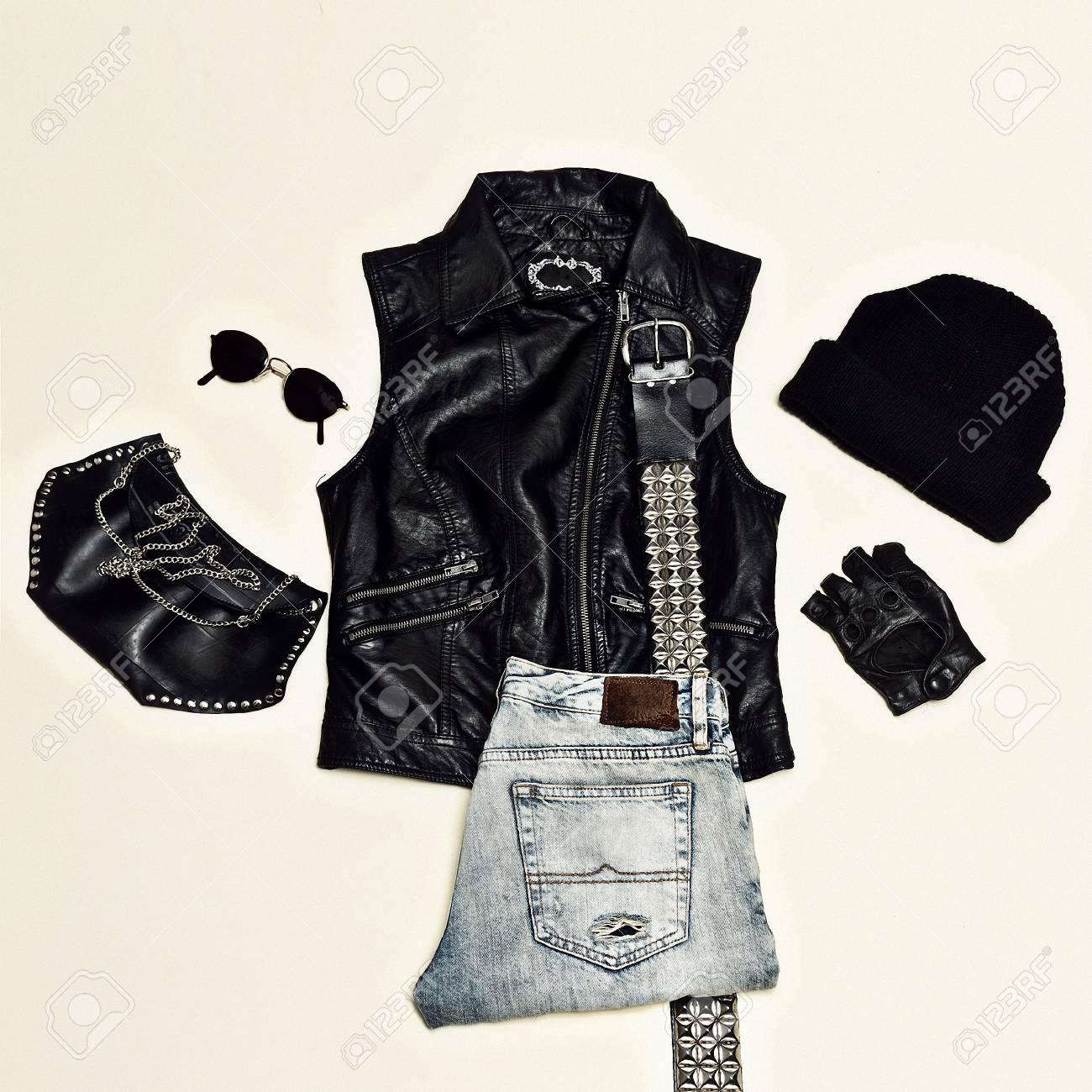 Jeu De Style Rock Mode Urbaine Noire Gilet Pochette Bonnet Vetements En Cuir Noir Banque D Images Et Photos Libres De Droits Image 74221480