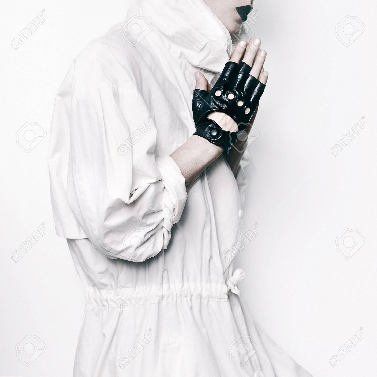 Stock photo trend hipster model swag girl minimal style trendy black and white outfit leather gloves stylish makeup fashion religion