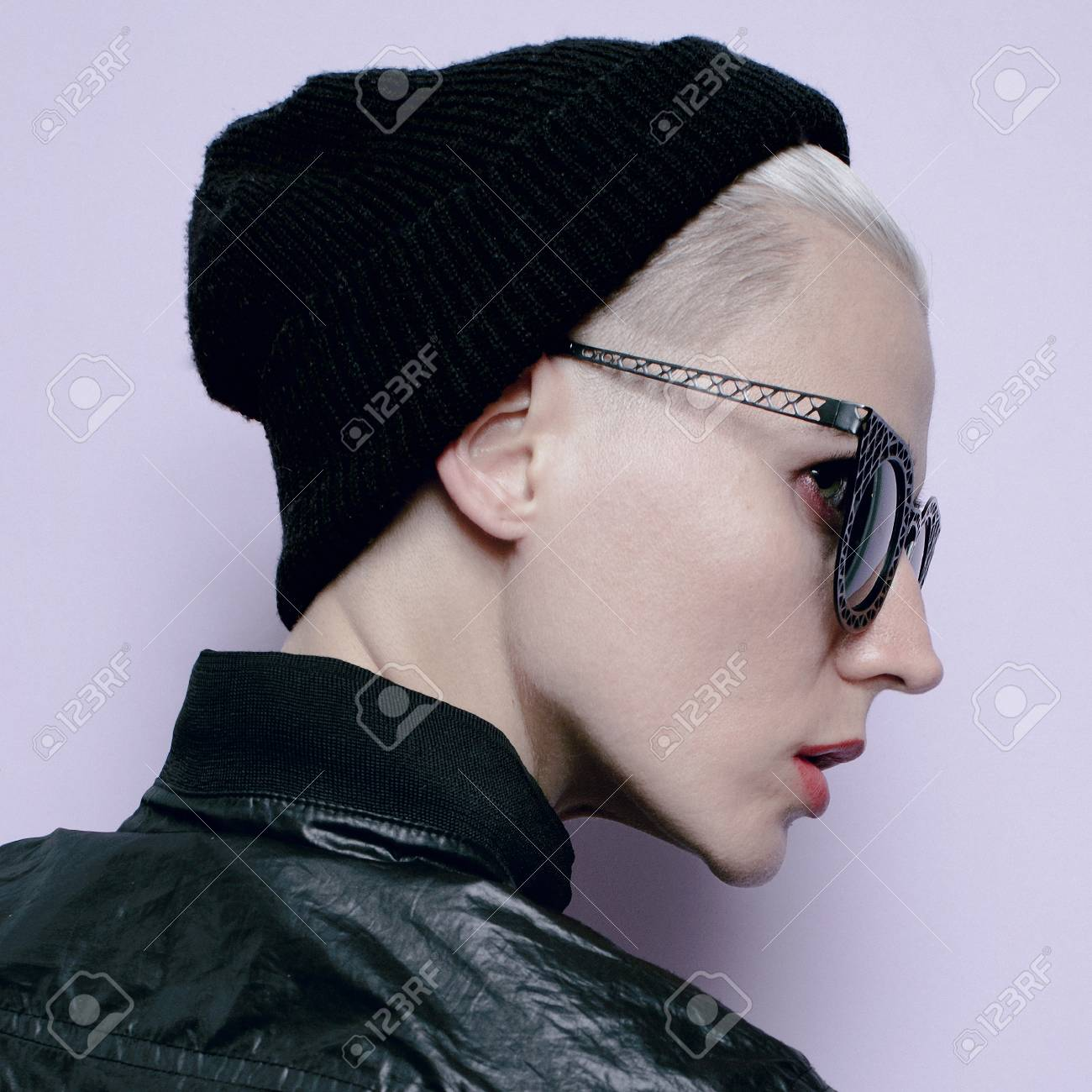 hipster girl tomboy style black fashion stylish beanie hat stock