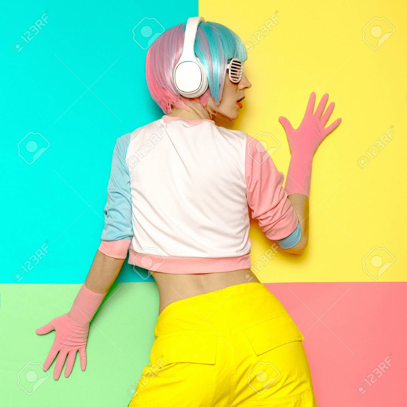 Vanilla DJ Lady. Minimal pop art style. Fashion colors. Sweet party - 74304985