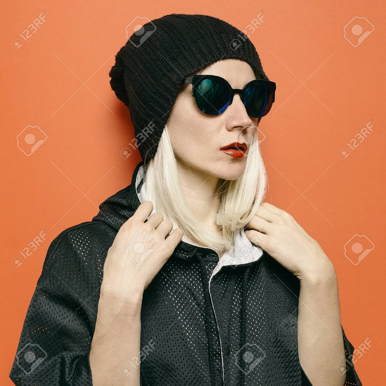 Hipster Blonde Model Swag Tomboy Style. Beanie Hat Stock Photo - 74377505 fe71ecb5c81
