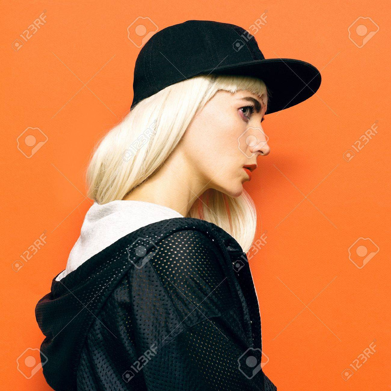 Hip Hop Girl Blonde Cap And Stylish Clothes Urban Style Swag