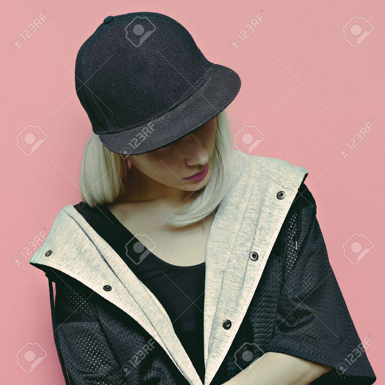 Hip Hop Girl Blonde Tomboy Cap And Stylish Clothes Urban Style