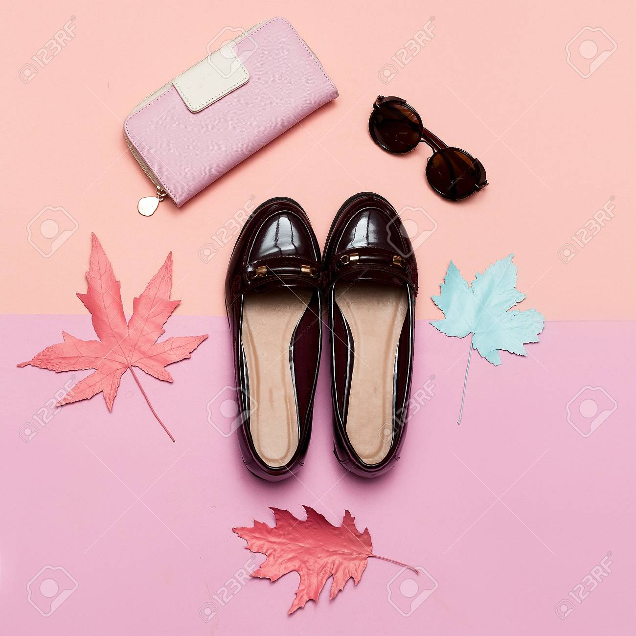Fashionable Vintage Shoes for Lady and Accessories Clutch and Glasses Concept Minimal Design Art - 77224471