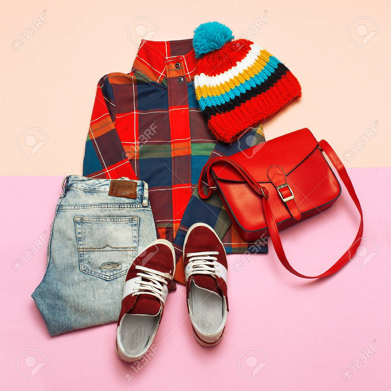 Stylish set of clothes. Checkered jacket and bright accessories. Hipster trend style. Spring Casual Urban - 77224530