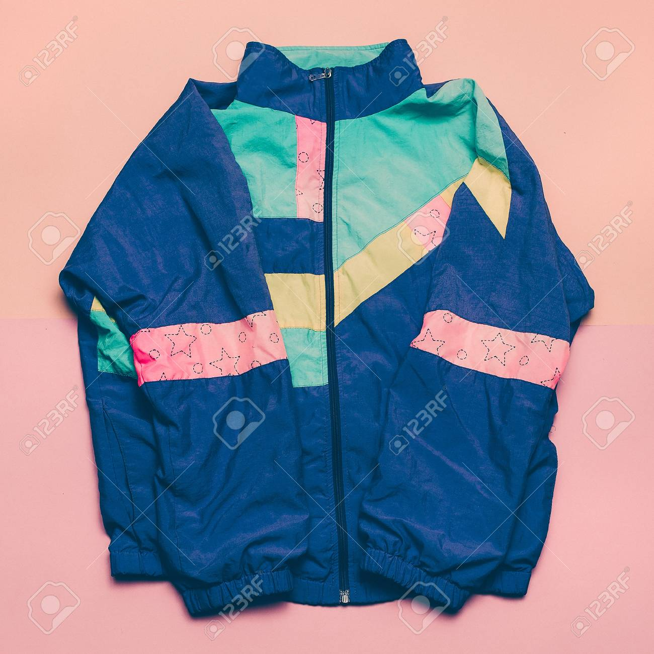 d804866a Vintage Sports Jacket Fashion Blogger Help Top View Stock Photo ...