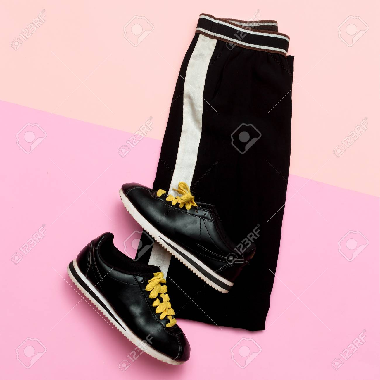4e28a67d Fashion Outfit for women. Black stylish clothes. Sports Urban. Minimal. Top  view