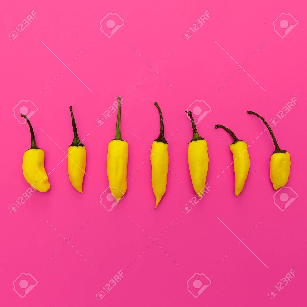 Yellow pepper. Minimal art design - 87609912