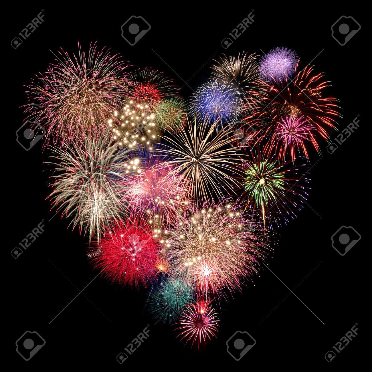 Heart Fireworks Celebration on black Background - 41446585