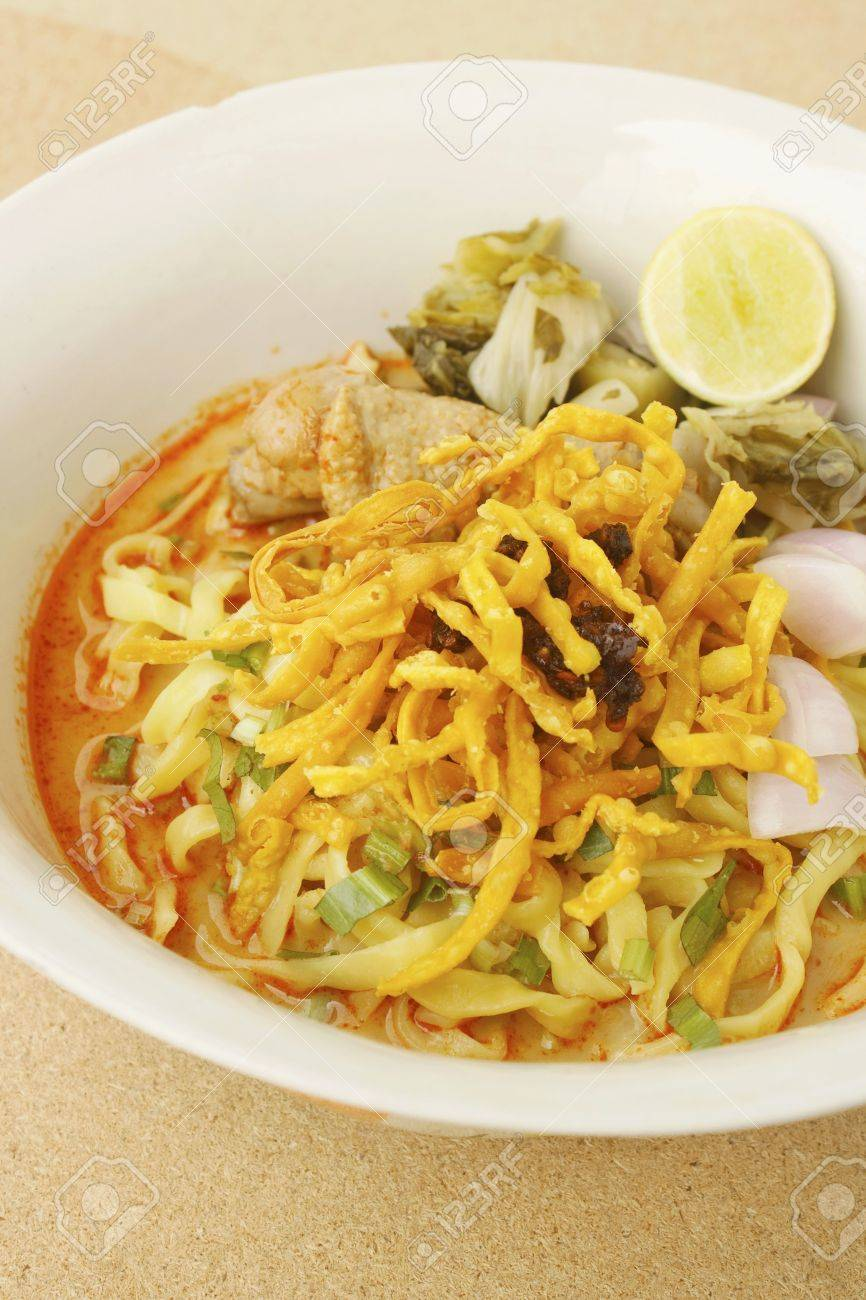 Thai Food Northern Thai Noodles Curry Soup Northern Style Chicken Noodles Soup Egg