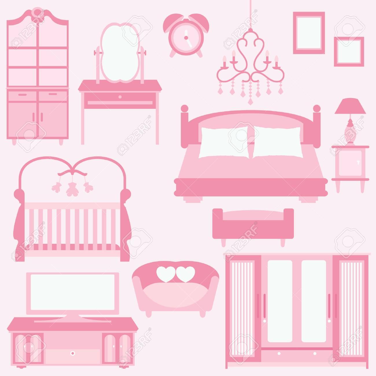 set of furniture in bedroom Stock Vector - 22533940