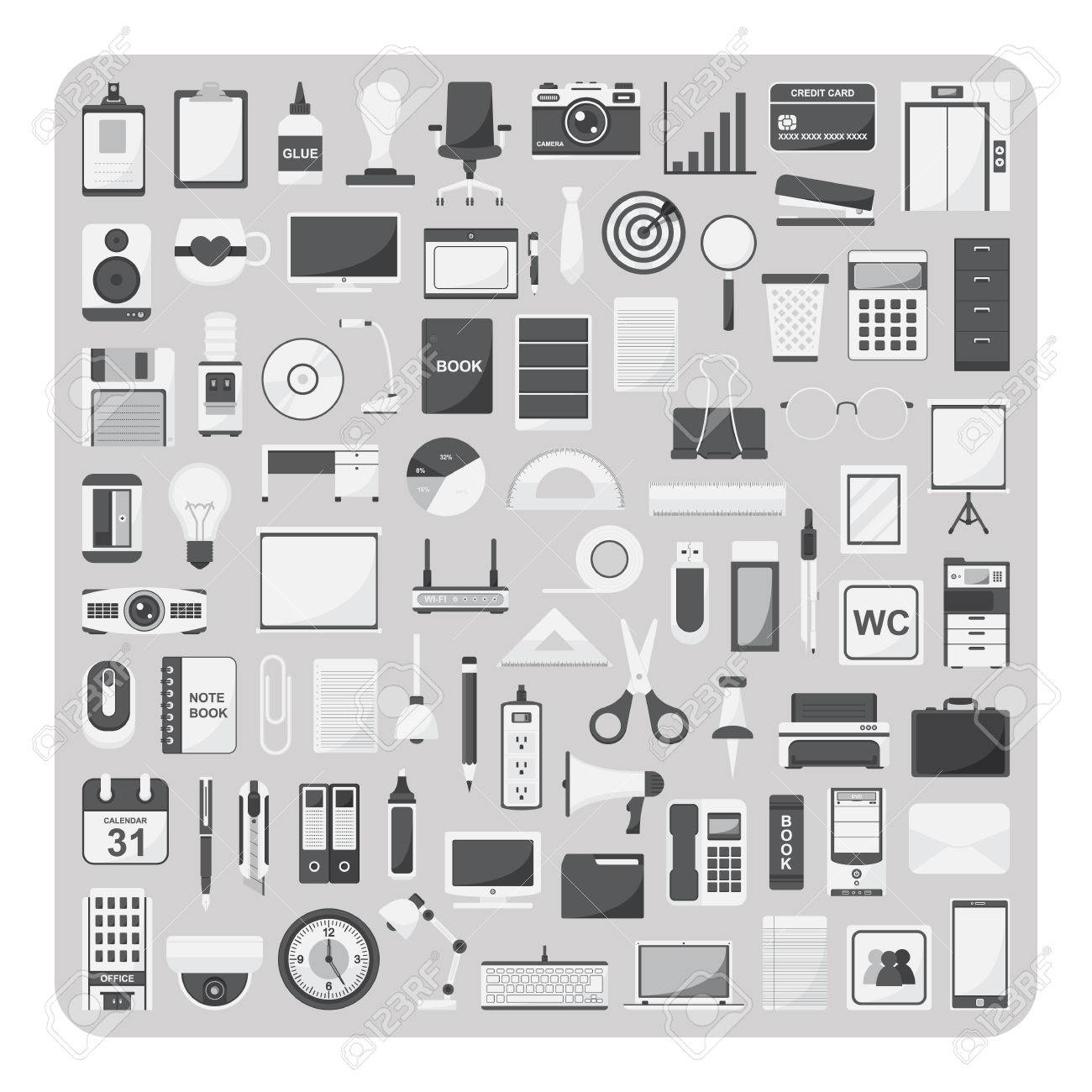modern office organization. modern office organization vector of flat icons and supplies f