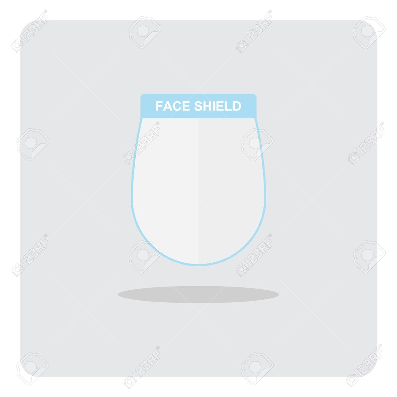Medical Face Shield for protection Coronavirus 2019 (COVID-19) disease, Vector design of flat icon on isolated background. - 145764244
