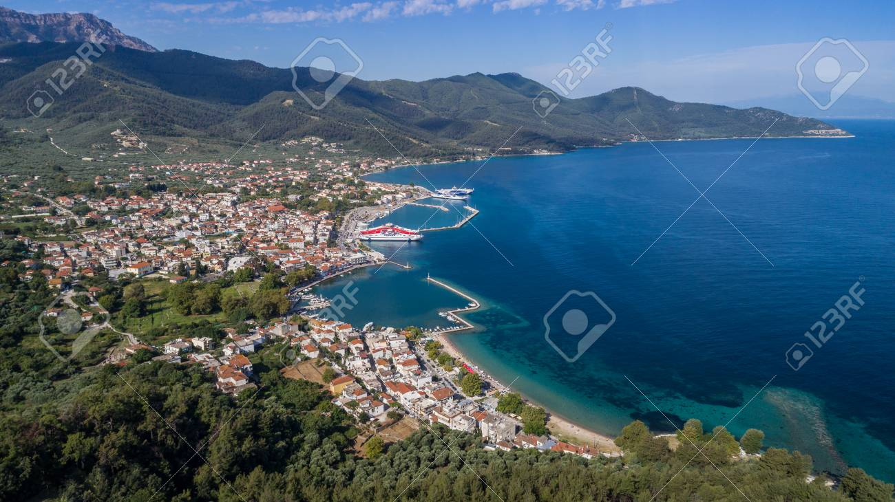 Aerial View Of Limenas Town And Port At Thassos Island Greece