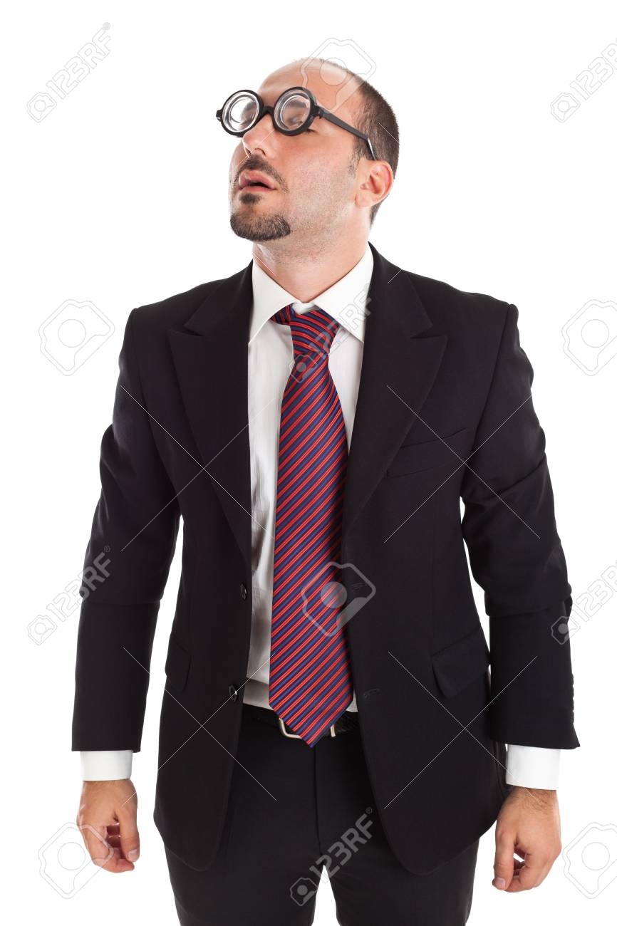 A businessman wearing thick, circle glasses Stock Photo - 18994187