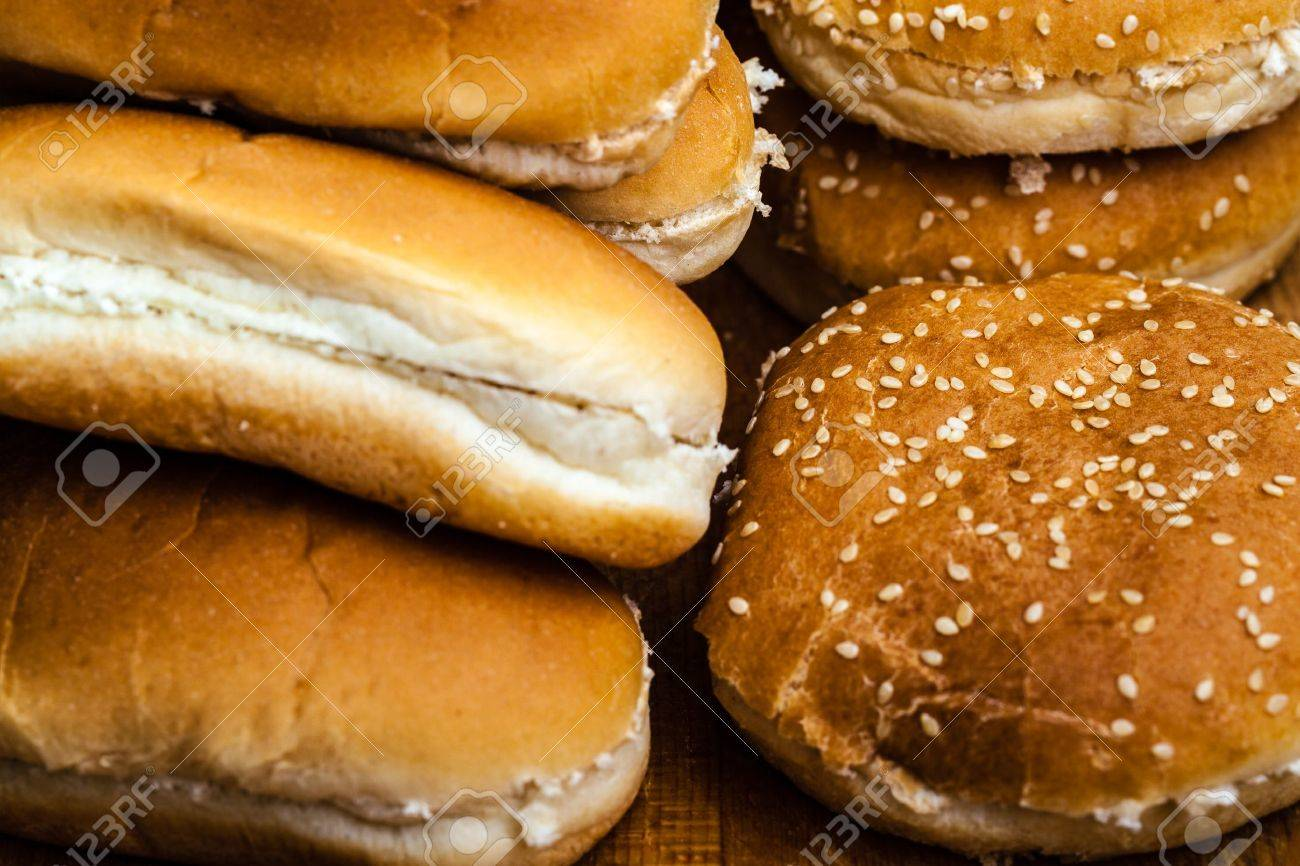 Different Types Of Bread Buns For Hamburgers Or Hot Dogs Stock Photo
