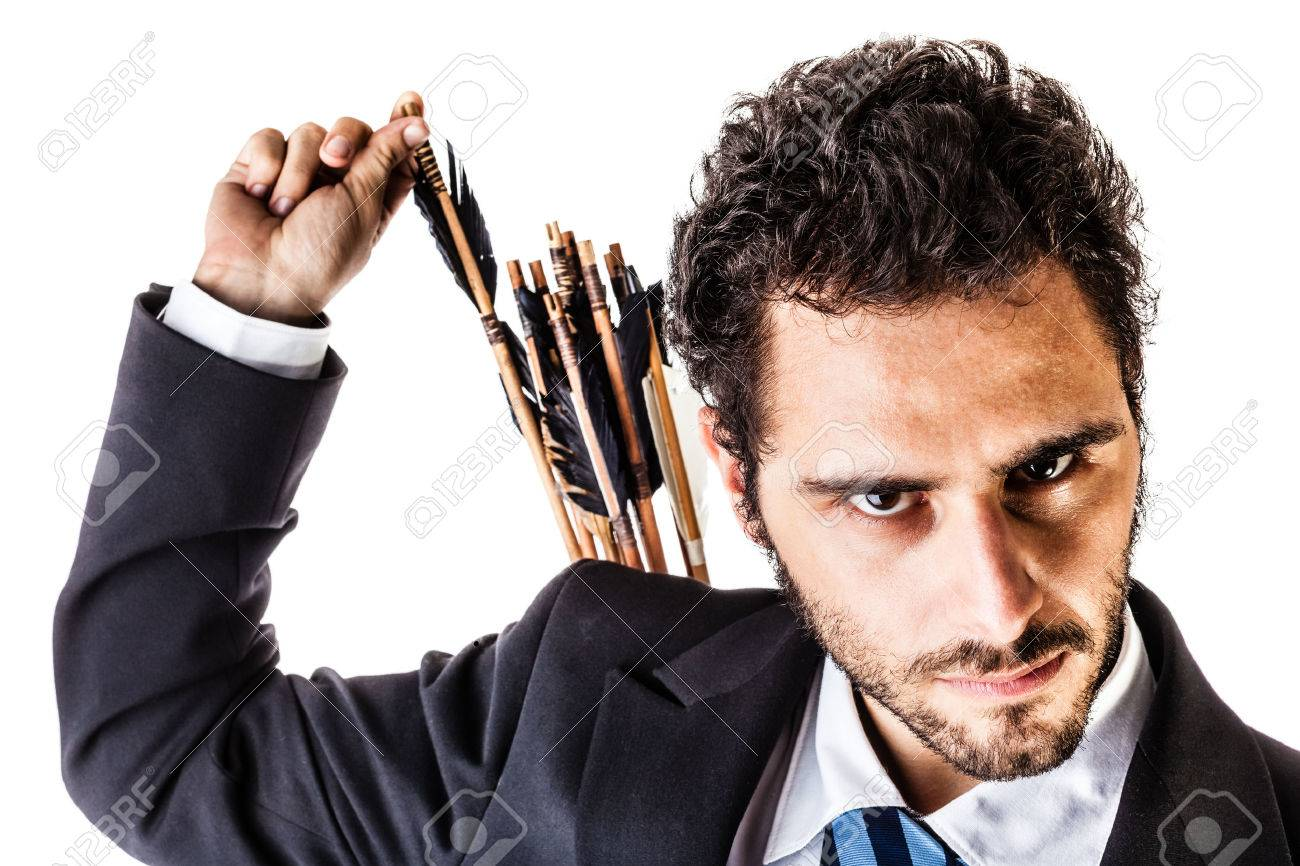 an elegant young businessman extracting an arrow from the quiver on his back - 23300236