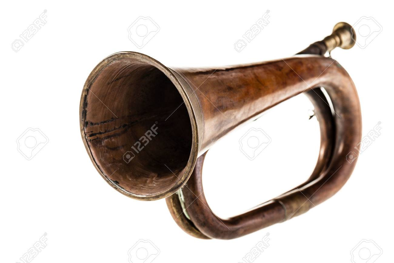 an old and rusty bugle isolated over a white background Stock Photo - 23394094