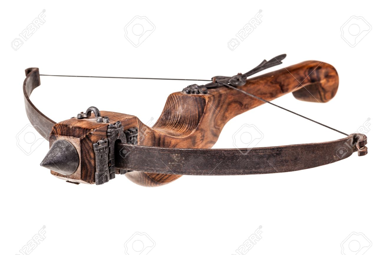 an ancient medieval crossbow isolated over a white background