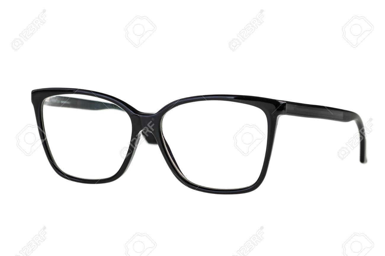 23ffa53c5c7 black nerd or geek eye glasses isolated over a white background Stock Photo  - 33975126