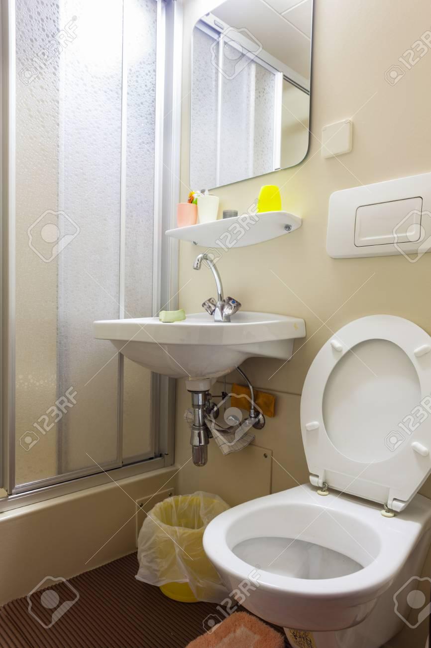 Ein Kleines Bad Mit WC, Waschbecken Und Dusche Standard Bild   41676043