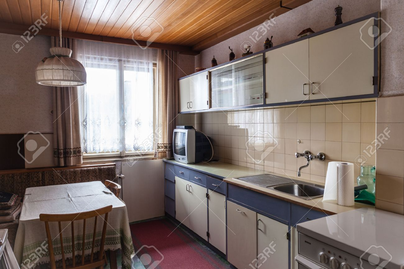 Interior Of An Old Simple Kitchen That Should Be Renovated Stock ...