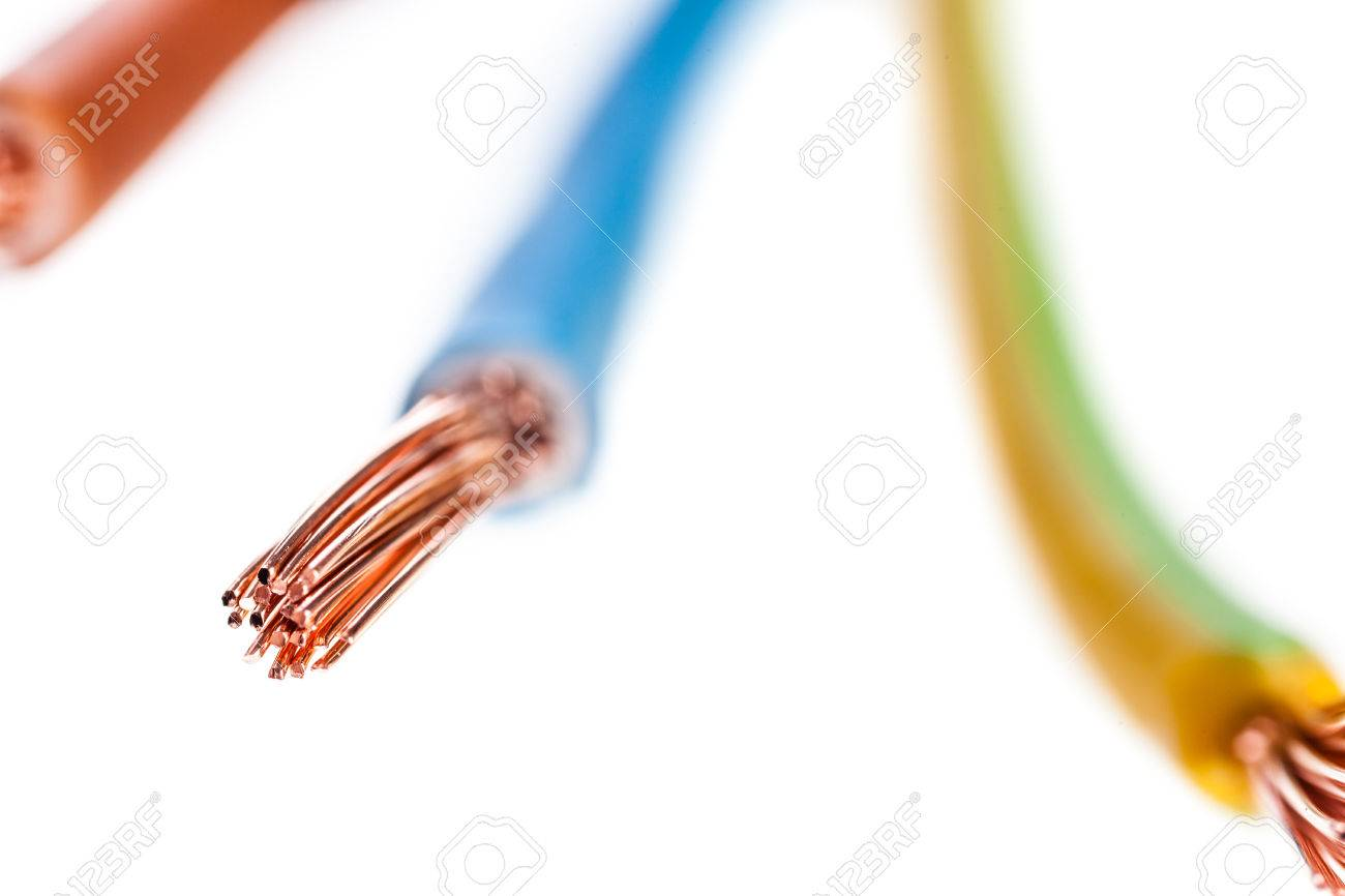 A Colored Copper Electrical Wire Isolated Over A White Background ...