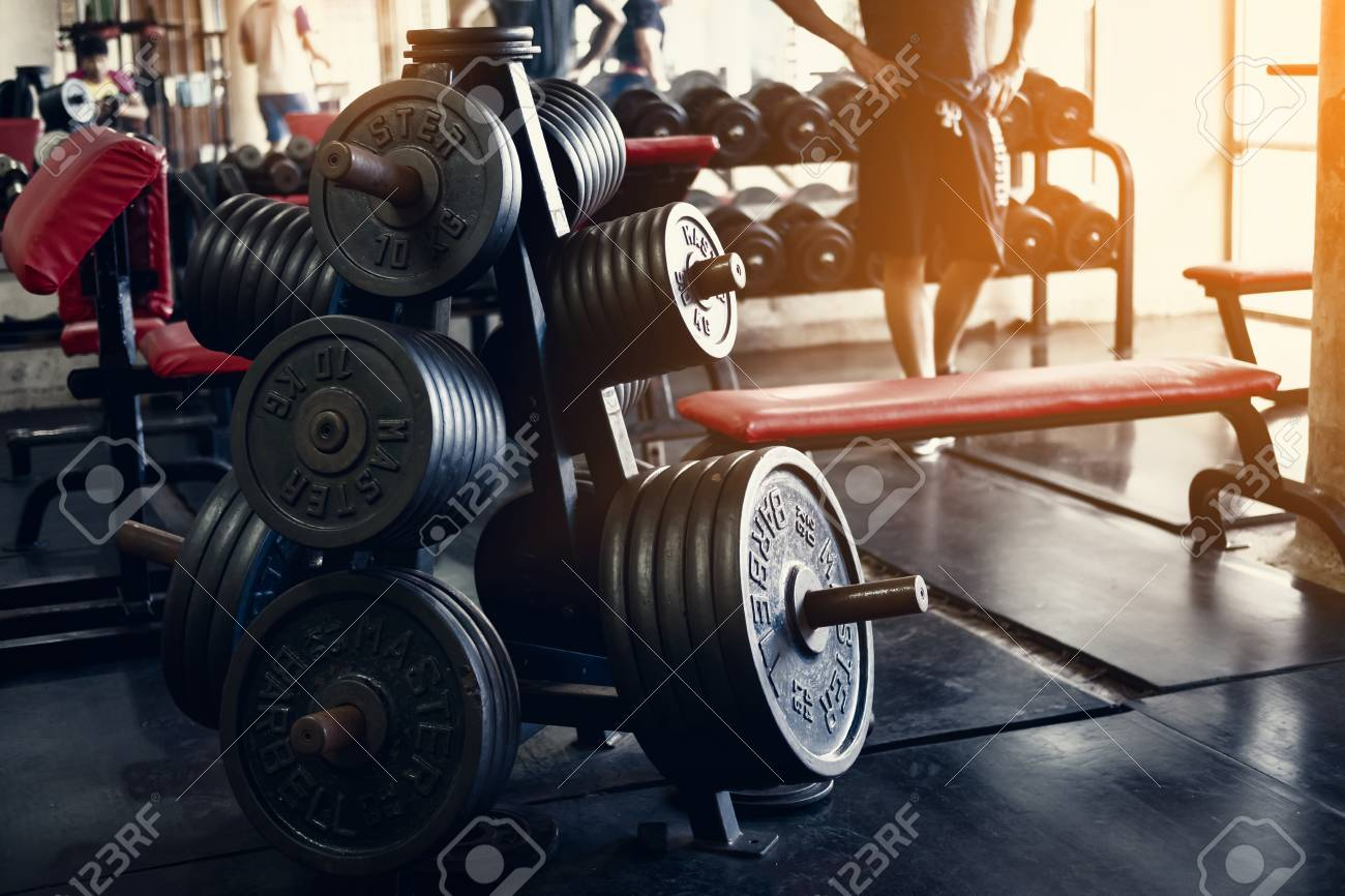 Old gym interior with equipment sports equipment in gym stock photo