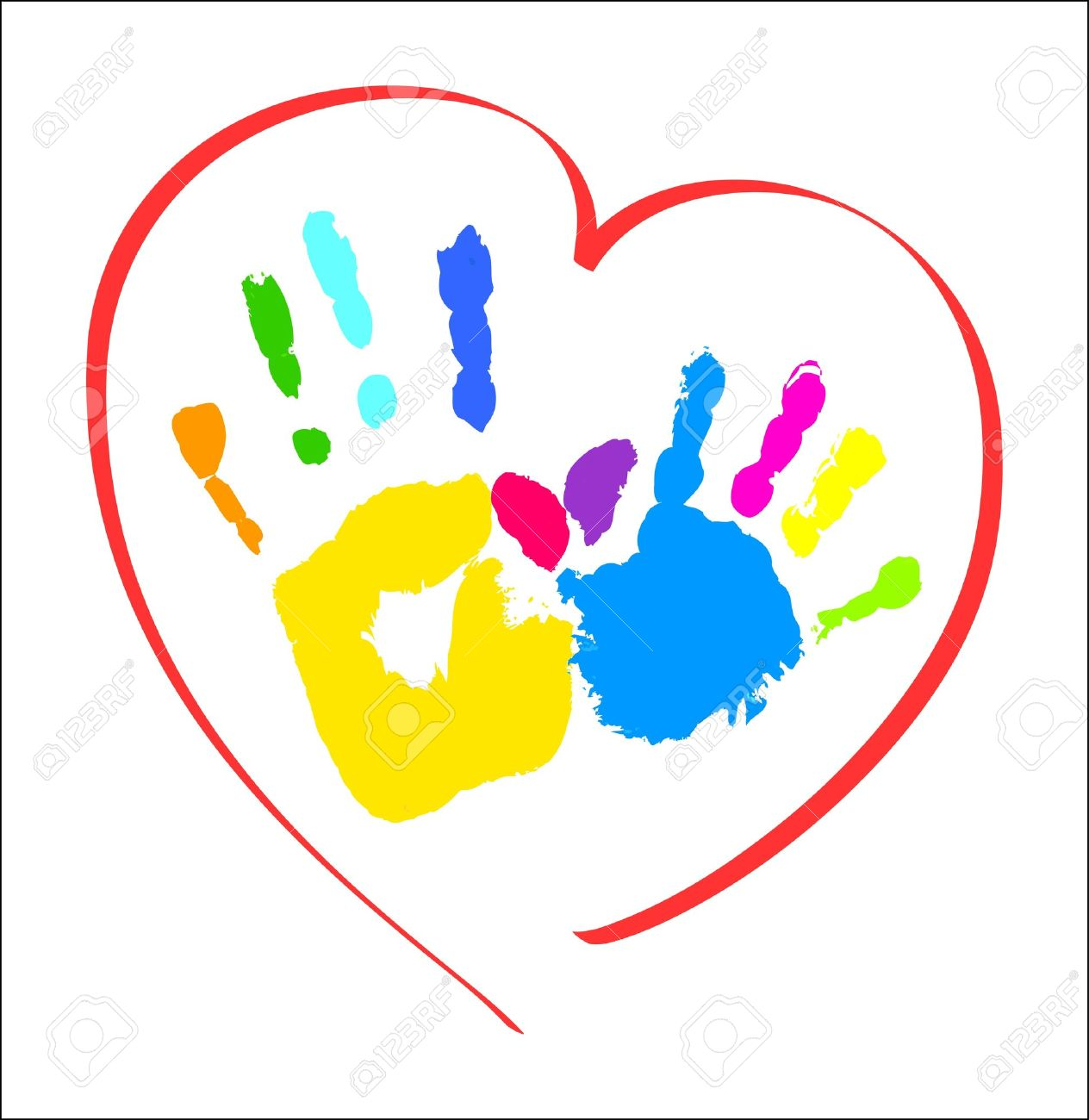 Handprint Heart Clipart handprint  Mother s and kid s