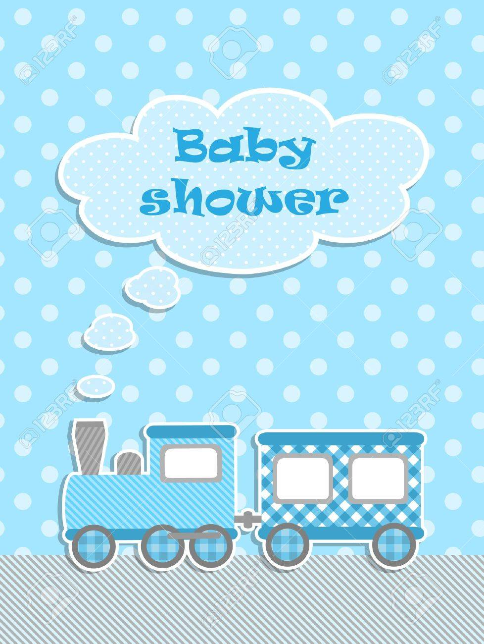 Baby shower for boy with scrapbook elements Stock Vector - 14323646