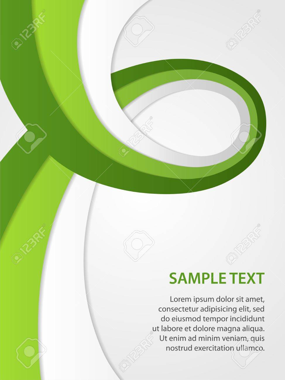 business background with green and white ribbons Stock Vector - 14790853