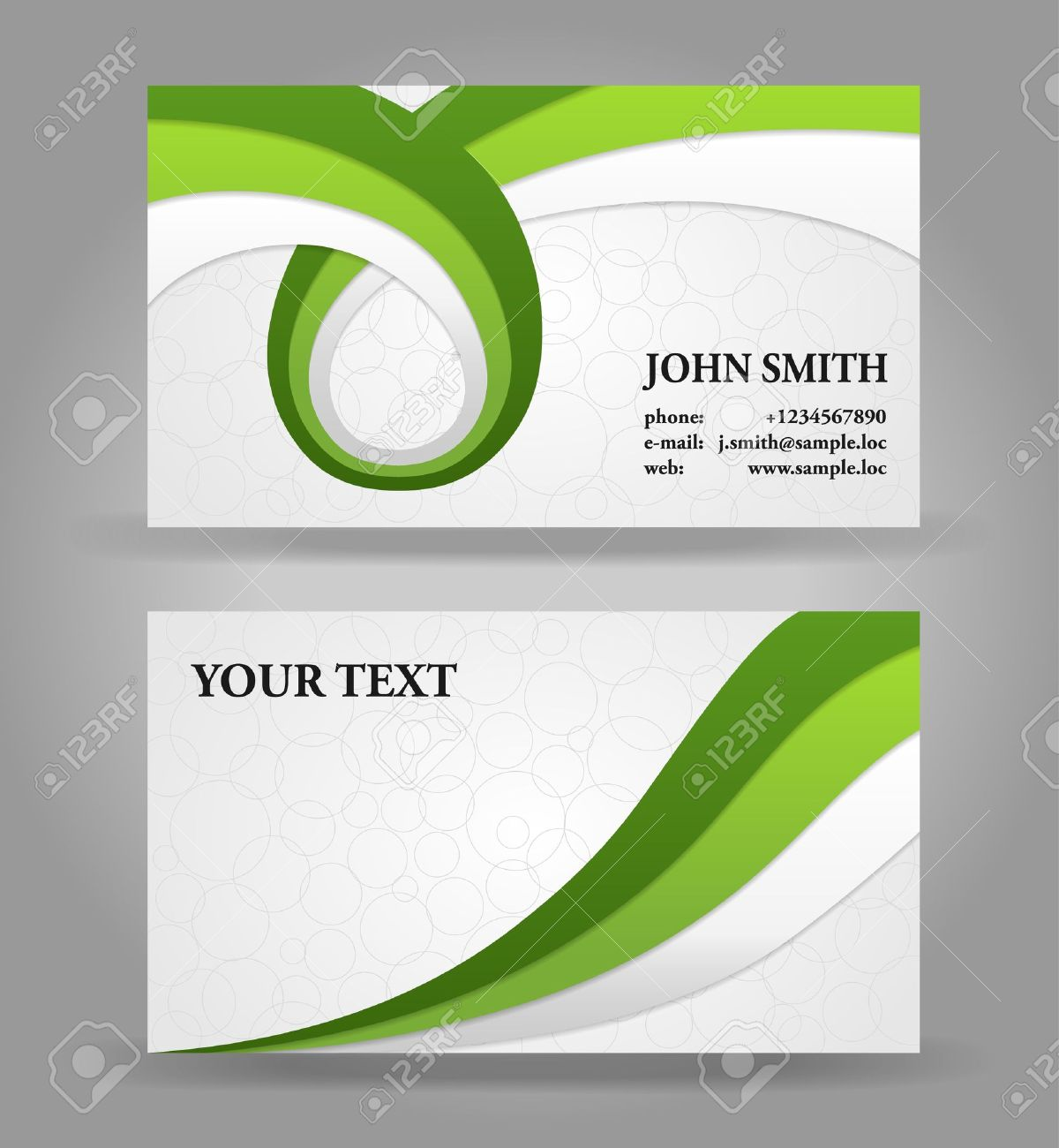 Green and gray modern business card template with ribbons royalty green and gray modern business card template with ribbons stock vector 14790854 wajeb Gallery