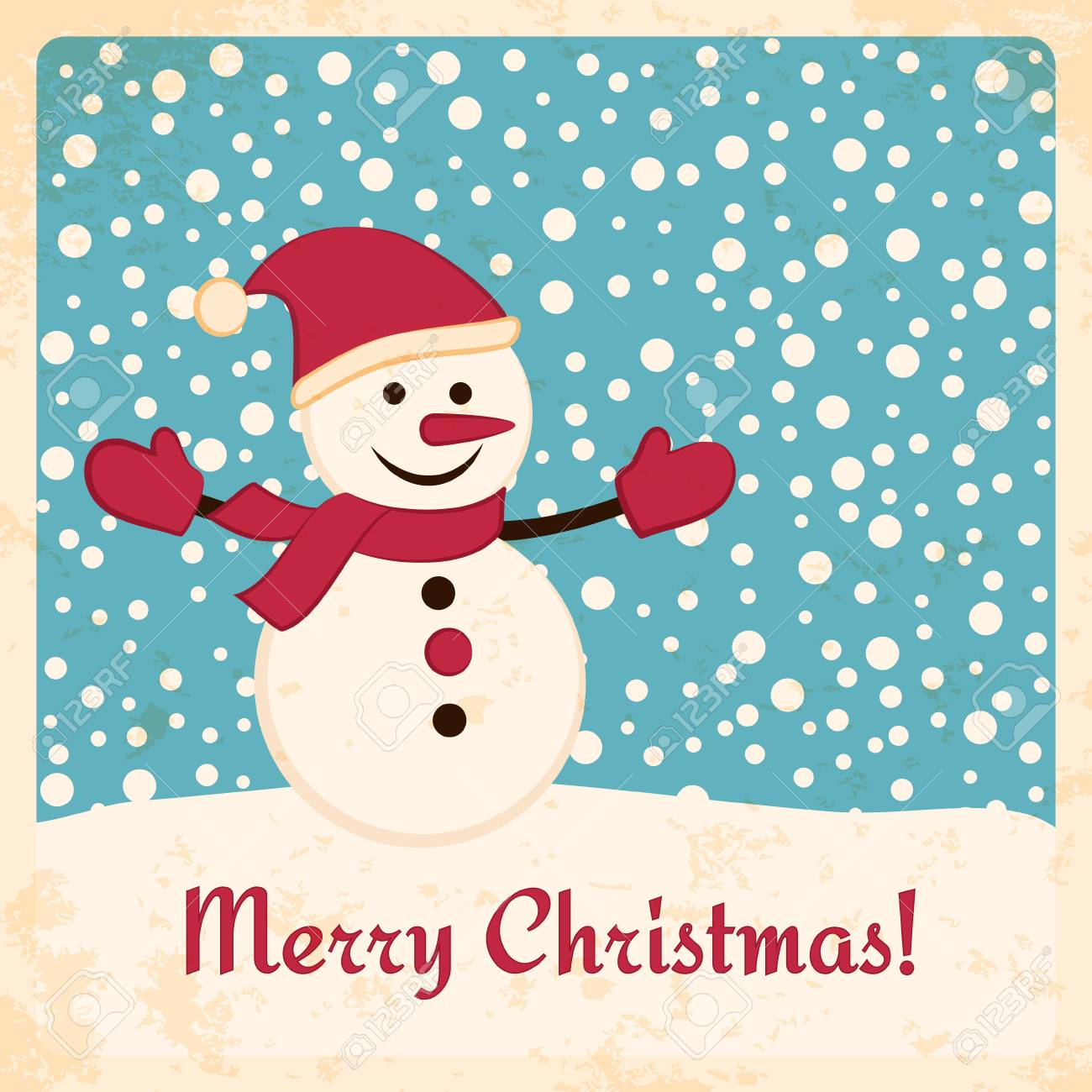 Retro Christmas Card With Happy Snowman On Falling Snow Background ...