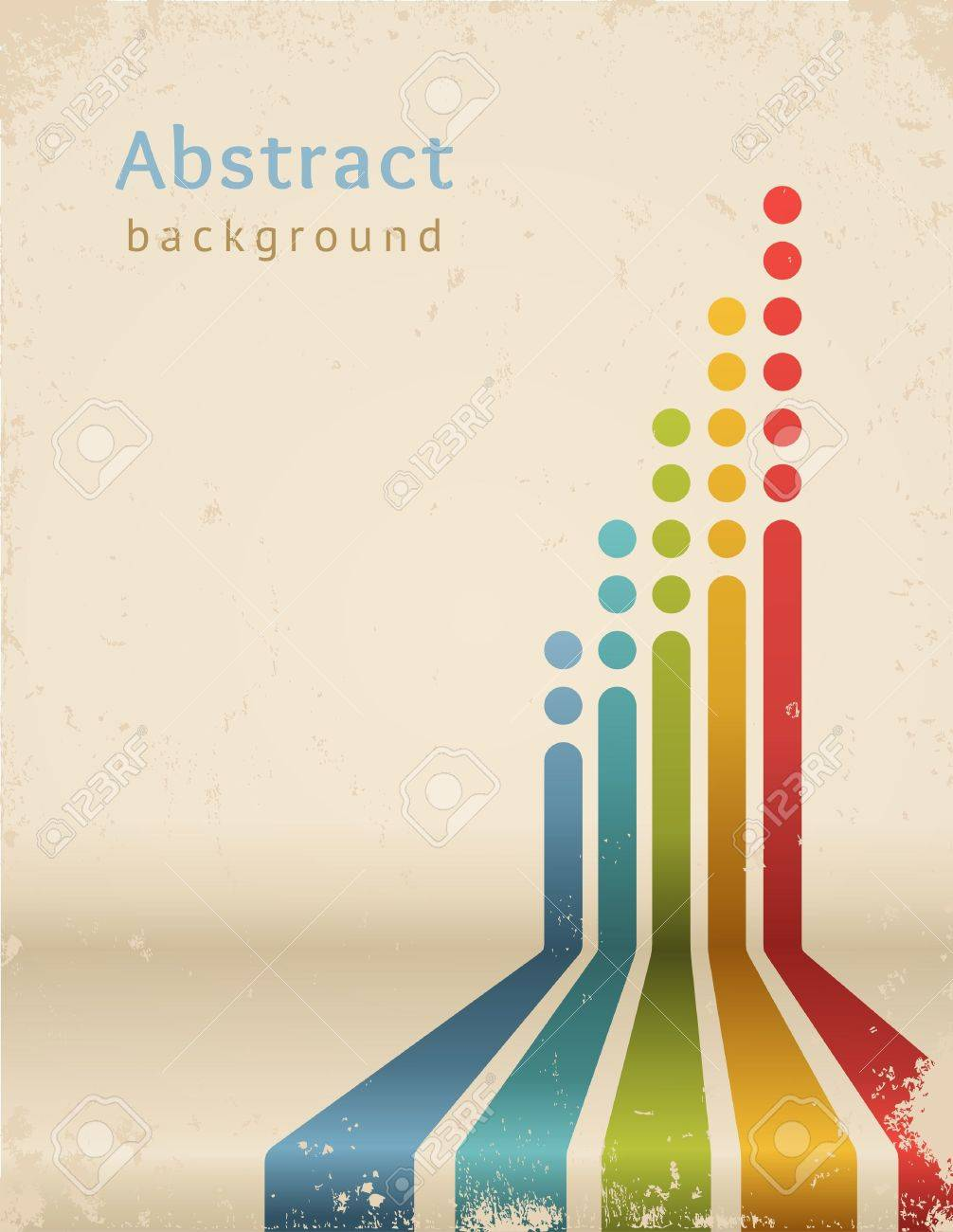 Poster backgrounds design - Poster Template Colored Stripes With Circles Vector Grunge Design Template