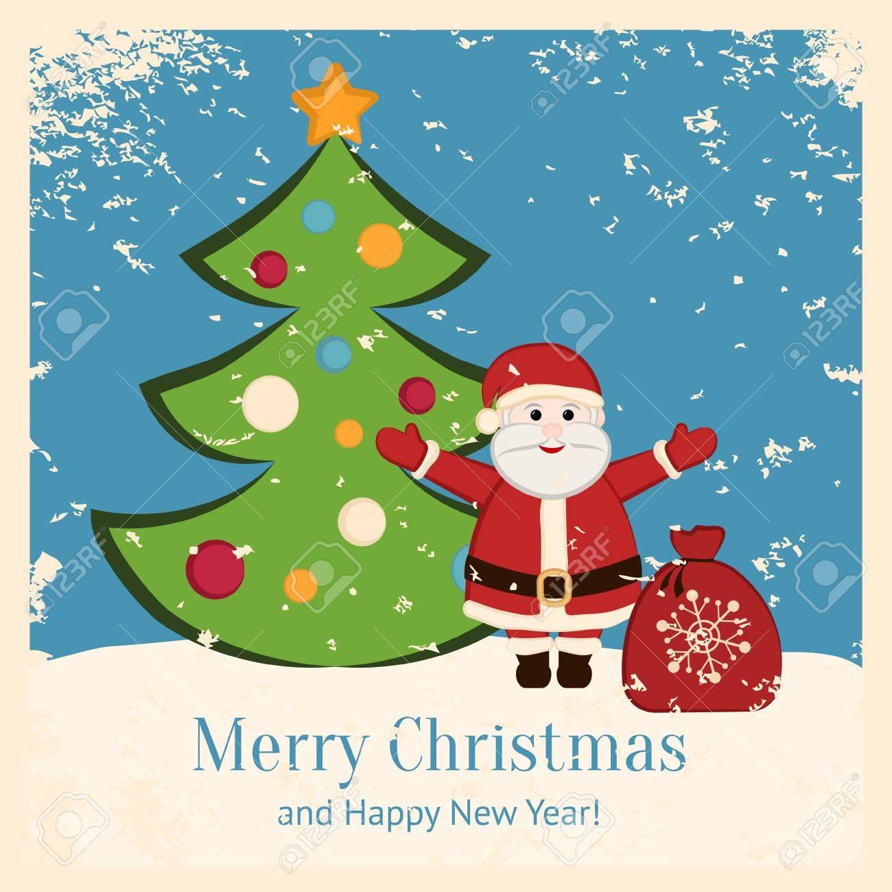 Retro Christmas card with happy Santa and fir Stock Vector - 16580579