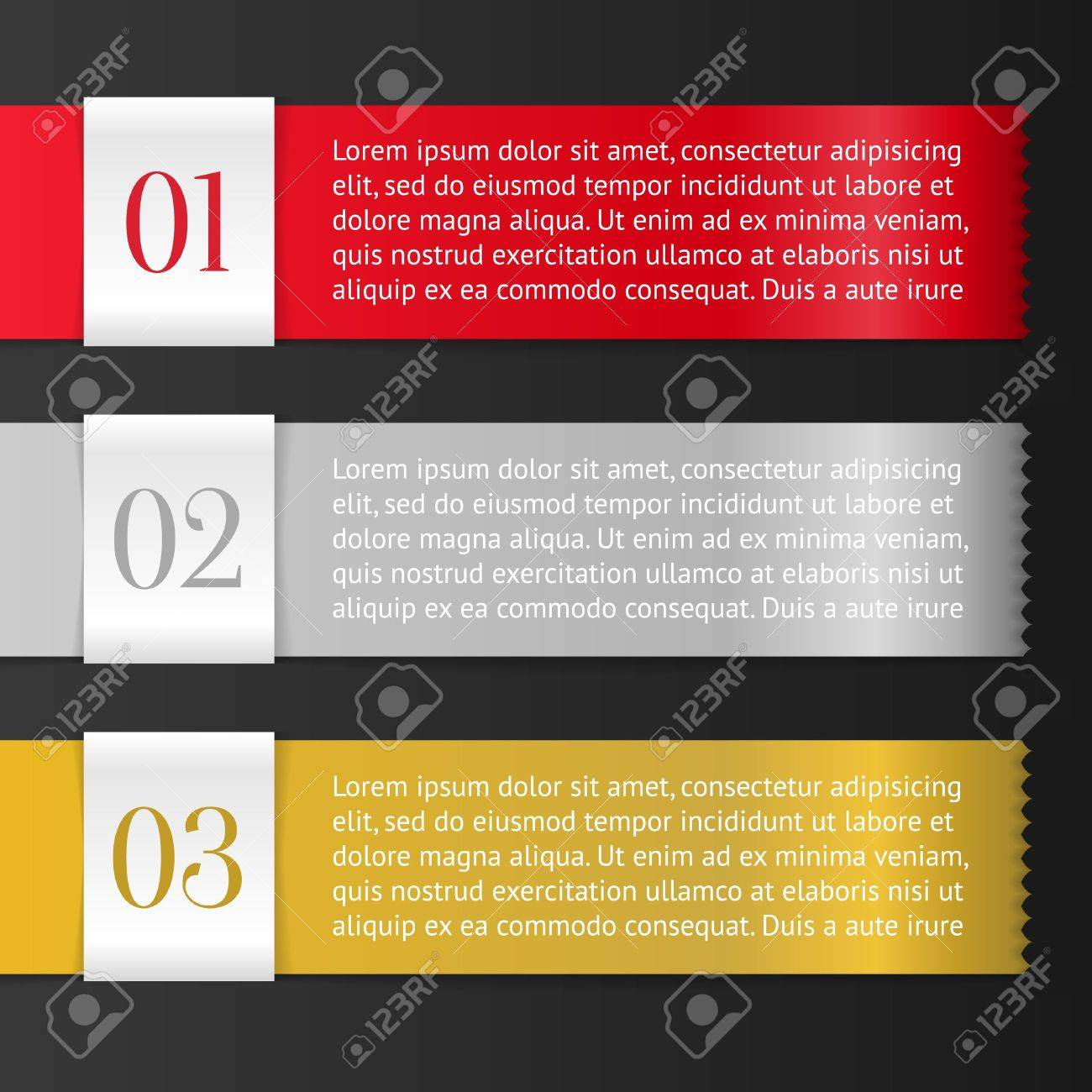 Vector One, Two, Three progress labels with arrows on black background; realistic cut, takes the background color Stock Vector - 16779293