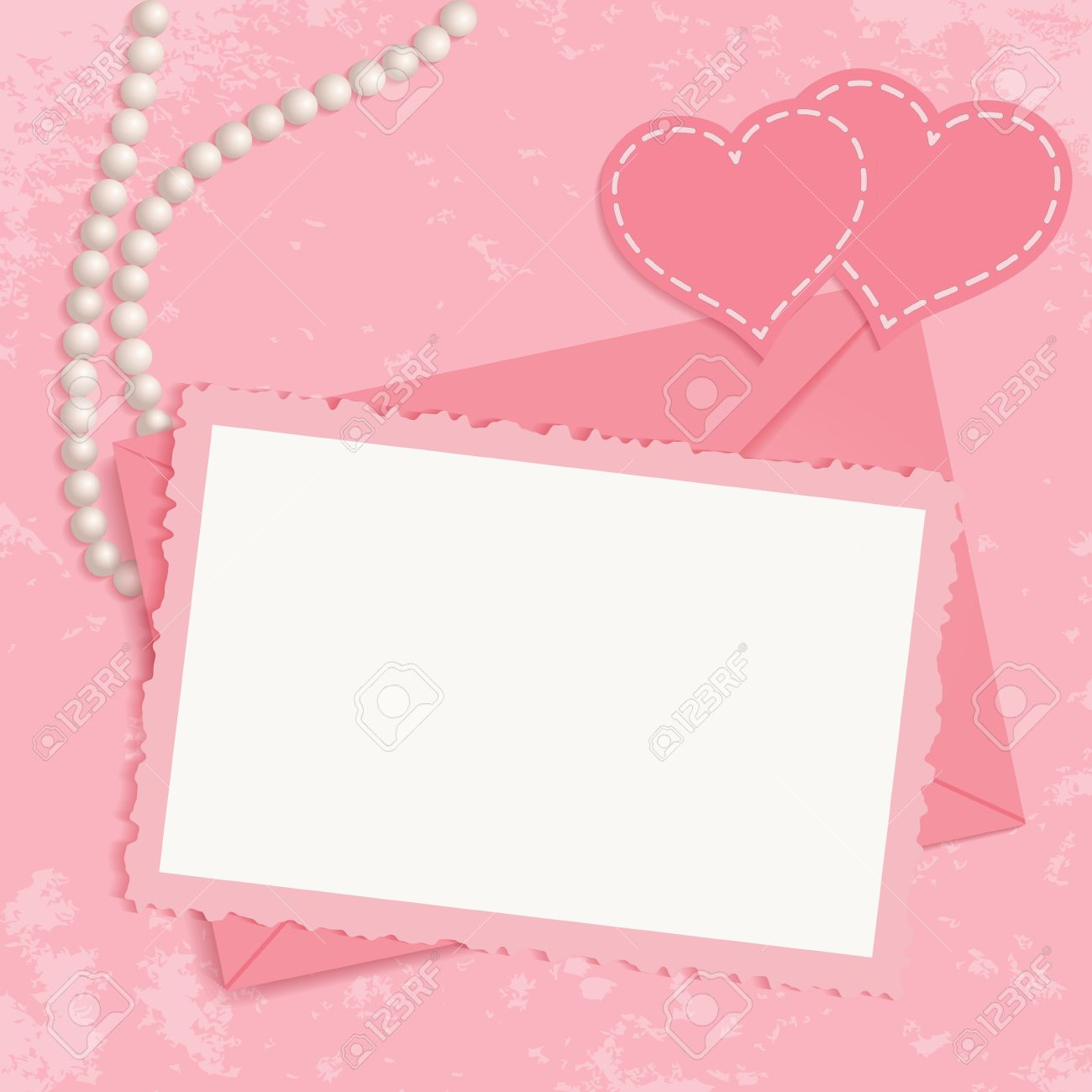 Retro pink framework for invitation or congratulation  Pearls, framework, envelope and hearts on pink grunge background  You can use frame for your text Stock Vector - 16968744